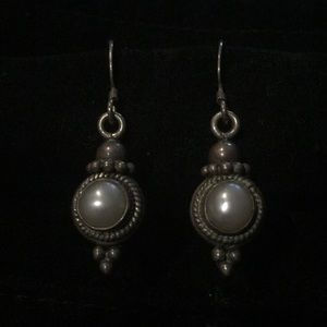 Vintage Pearl and Sterling Silver Dangle Earrings
